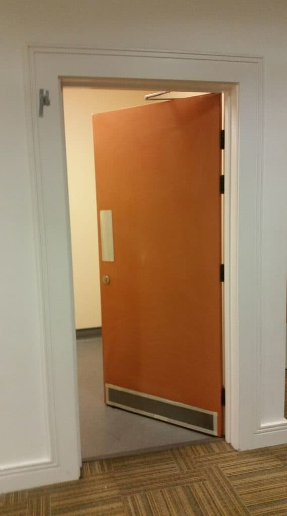door at Bridlington Spa ready for painting