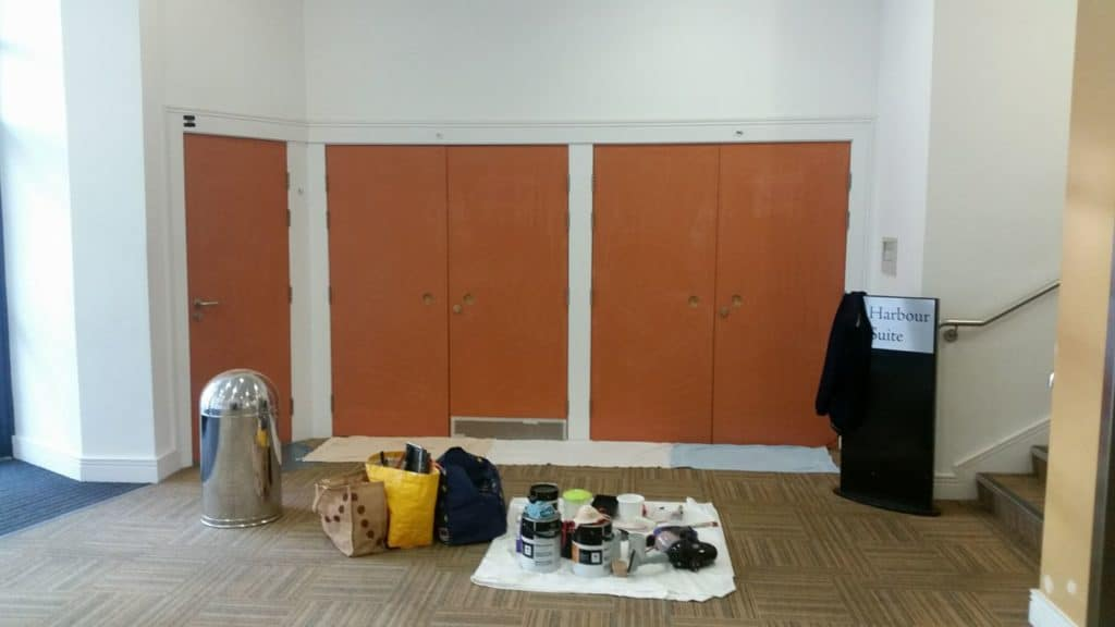 doors at Bridlington Spa prepared for painting