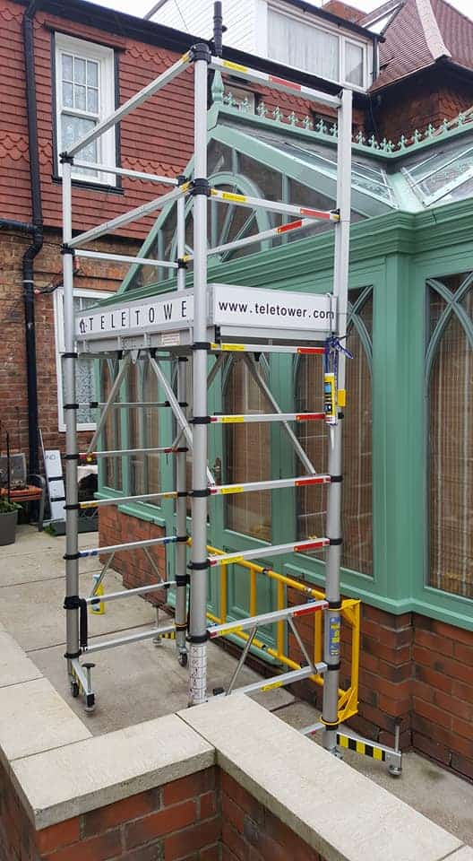 outside of conservatory with scaffolding