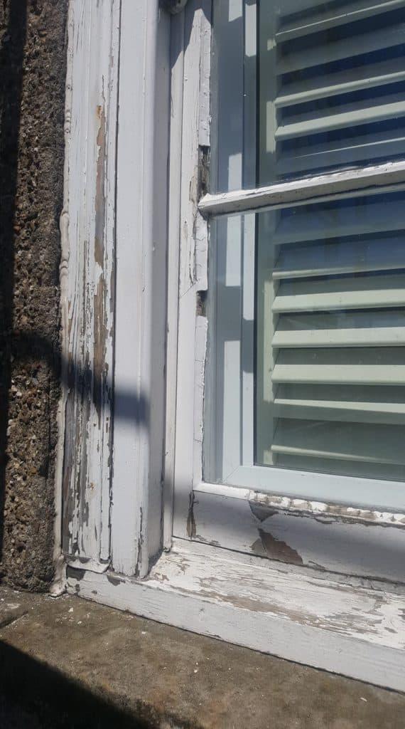 distressed window frame
